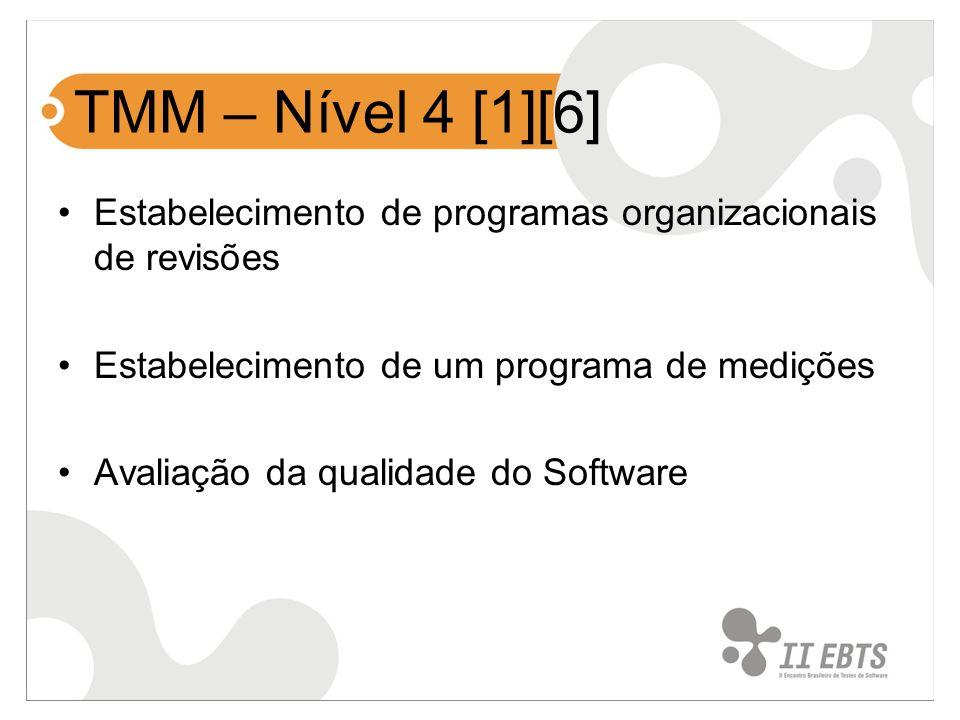 TMM – Nível 4 [1][6] Estabelecimento de programas organizacionais de revisões. Estabelecimento de um programa de medições.
